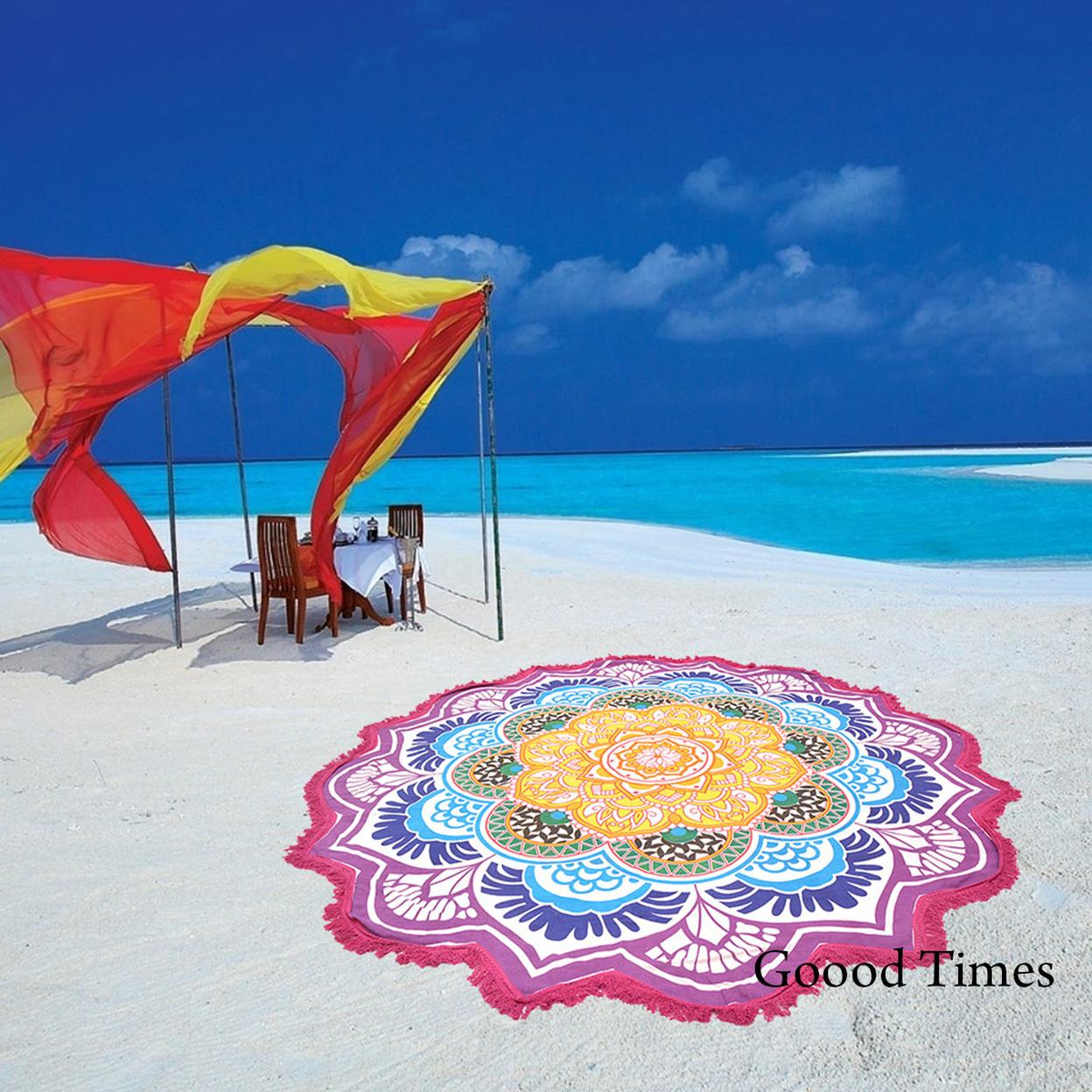 "Goood Times Mandala Roundie Beach Picnic Spread Hippie Star Pattern Tapestry – 72"""