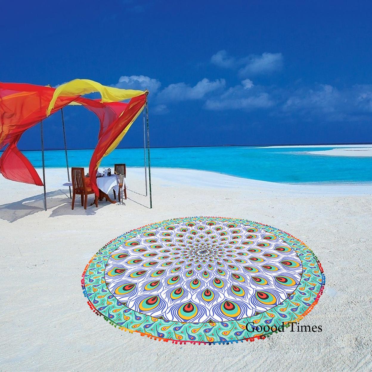 "Goood Times Mandala Roundie Beach Picnic Spread Hippie Towel Peacock Style Tapestry – 80"""