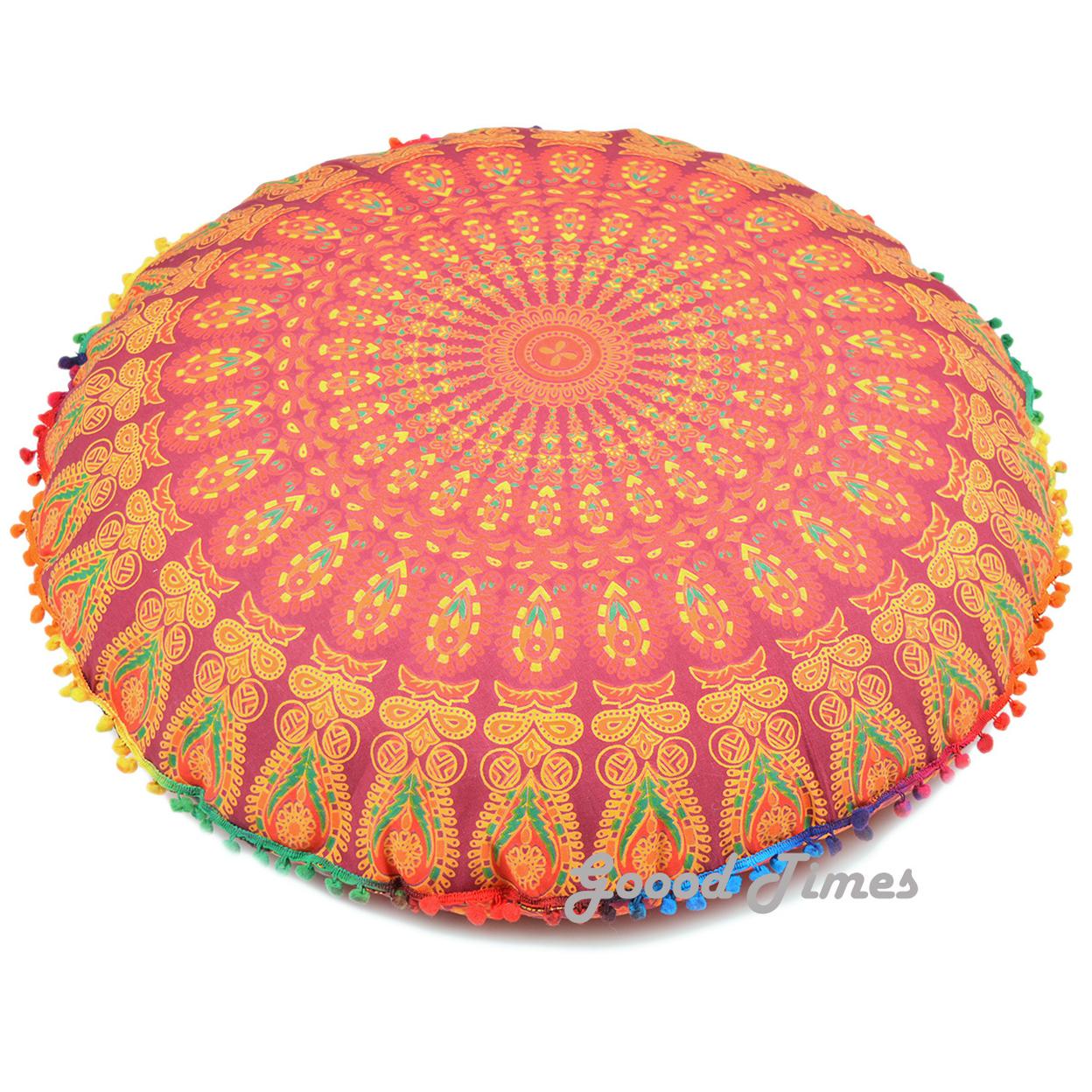"Goood Times Maroon Throw Decorative Floor Pillow Cushion Cover Mandala – 32"""