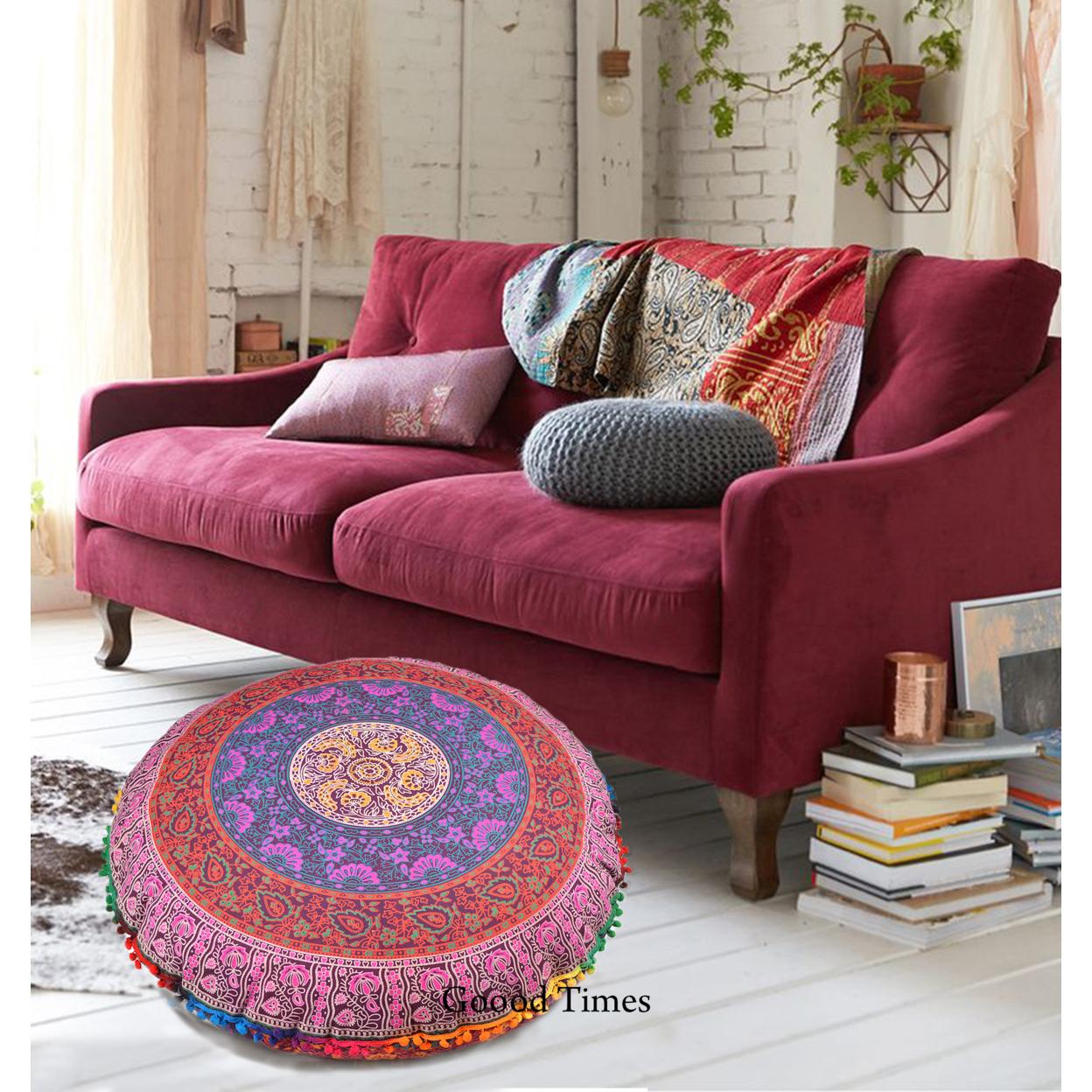 "Multi-Color Throw Decorative Floor Pillow Cushion Cover Mandala – 32"""