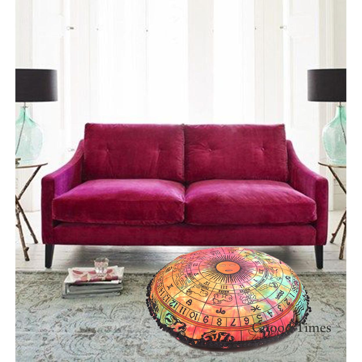 "100% Cotton 32"" Round Zodiac Floor Pillow Cover"