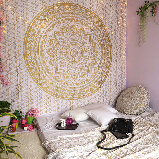 Buy indian hippie bohemian mandala tapestry gold throw by for Fine decor international inc
