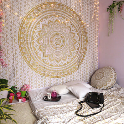 Goood Times Wall Decor Hippie Tapestries Bohemian Mandala Tapestry Wall Hanging Indian Gold Throw Beach Tapestry