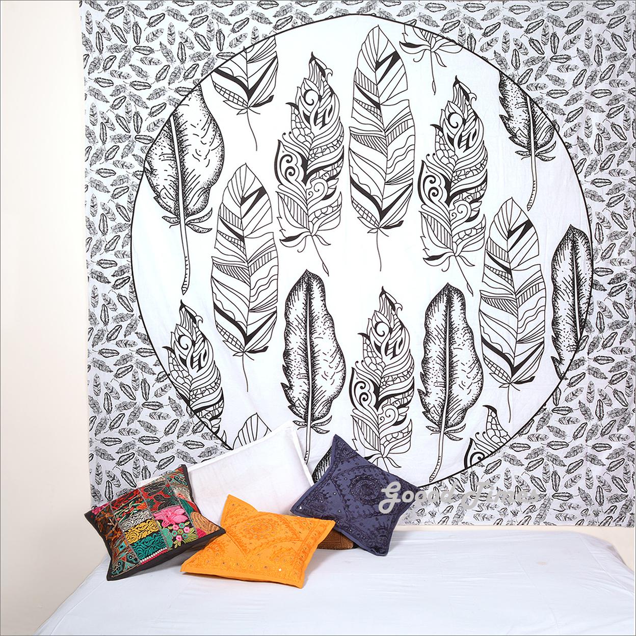 Goood Times Wall Decor Hippie Tapestries Bohemian Mandala Tapestry Wall Hanging Indian Throw Black & White