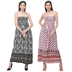 Strapless Women Summer Fashion Floral & Paisley Printed Tube Dress Polyester Long Maxi Dress