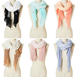 Women Ladies Pearl Scarf Long Neck Wrap Hijab Shawl Pleated Viscose Scarves for Women Girls Gift Ideas