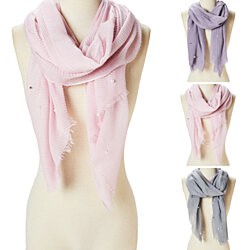 Women Pearl Scarf Luxury Viscose Pleated Scarves Lightweight Long Shawl Wrap Scarves for Women Girls Fashion