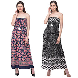 Women Tube Dress Floral & Geometric Printed Polyester Strapless Maxi Dress for Summer Fashion