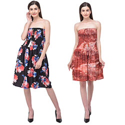 Women Tube Dress Printed Polyester Strapless Short Tube Dress for Women's Girls Fashion Outfit