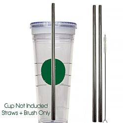 "2 Travel Mug Stainless Steel Straws - Venti "" Starbucks "" To Go Cup"