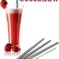 4 Stainless Steel Wide Smoothie Straws - CocoStraw Large Straight Drink Straw