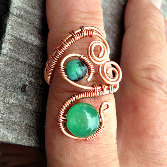 Buy adjustable copper green jade and chrysocolla wire wrap