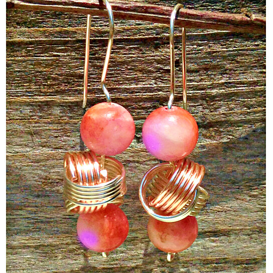 Buy Copper Knots and Coral Lilac Jade Earrings with Rose