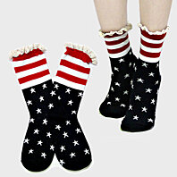 Lace Trim Star Striped American Flag Harajuku Girls Women Printed Star Patterned Striped Ankle High Anklets