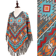 Leah Oversized Multicolored Aztec Print Poncho with Tassel