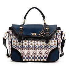 Women's  HA Aztec Print Flap Over Satchel Blue