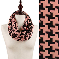Women Winter Houndstooth Scarf Printed Knit Infinity Scarves