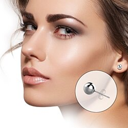 5 Pair Set of Sterling Silver Round Ball Stud Earrings, Includes 2mm 3mm 4mm 5mm 6mm