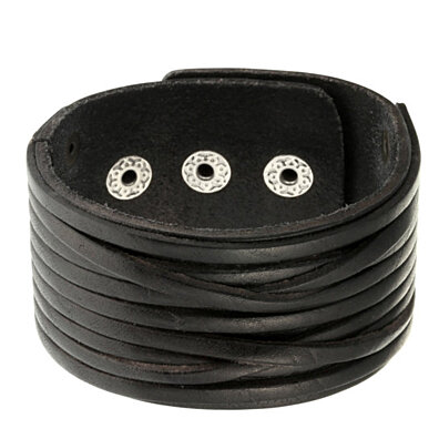 "Black Wide Genuine Leather Bangle with Inner Ropes Cuff Bracelet Wrist Size 7.5""-9"""