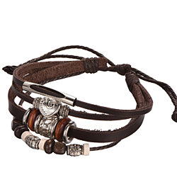 Adjustable Multi-Strand Brown Leather Bracelet with Metal Alloy Beads