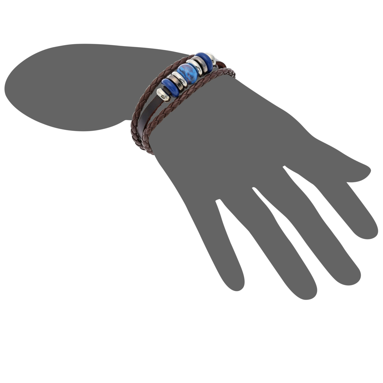 Fashion Leather Dark Brown Adjustable Bracelet with Beads and Charms. 5705641eaa3d6f40138b49ec