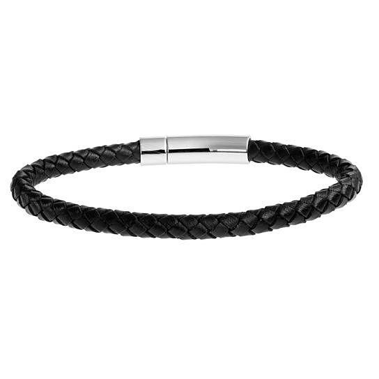 Braided Black Leather Mens Bracelet 6 Mm 8 1 2 Inches With Locking Stainless Steel Clasp By Tera Jewelers On Opensky