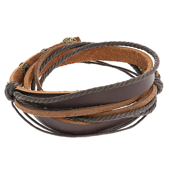 Original Tribe Brown Leather Wristband Cuff Bracelet Friendship Gift Ropes Women Wrap Men By Tera Jewelers On