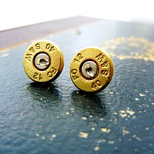 Bullet Stud Earrings 14k Gold Posts