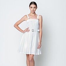 Textured Pleated Overall Waist Belt Dress