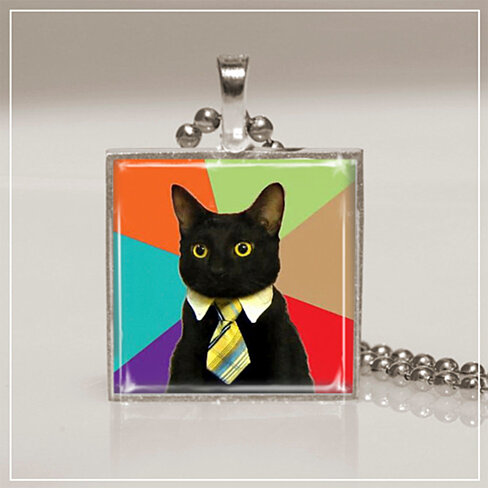 Buy jewelry pendant necklace black cat rainbow colorful for Cat in the hat jewelry