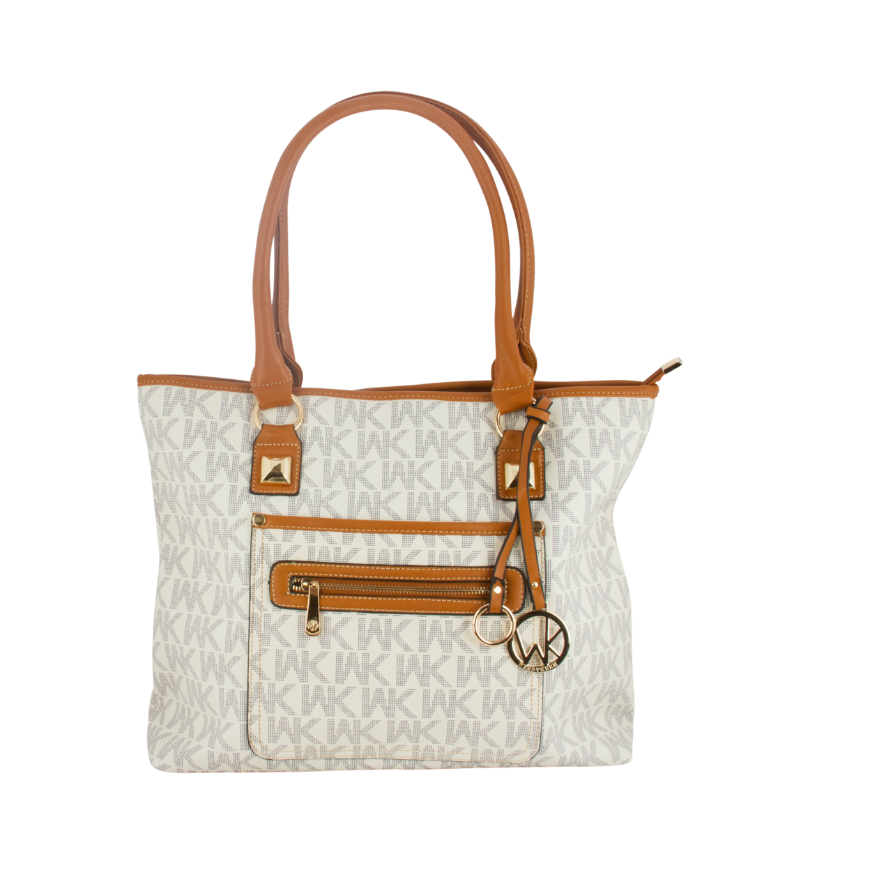 WK Collection Printed Handbags (8093) - White/Camel