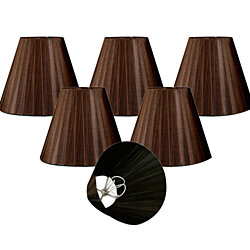 "Royal Designs Brown Organza Empire Chandelier Lamp Shade, 3"" x 6"" x 4.5"", Clip On-Set of 6"