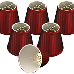"Royal Designs Burgundy Hardback Empire Chandelier Lamp Shades, 3"" x 5"" x 4.5"", Clip On- Set of 6"