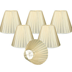 "Royal Designs Eggshell Organza Empire Chandelier Lamp Shade, 3"" x 6"" x 4.5"", Clip On-Set of 6"