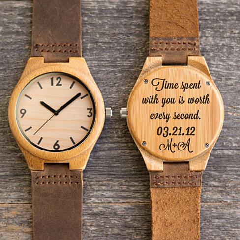 Wood Engraved Watch w67~ Gift for Him, Fathers Day Gift, Christmas, Personalized Watch, Anniversary, Wedding, Groomsmen Gift