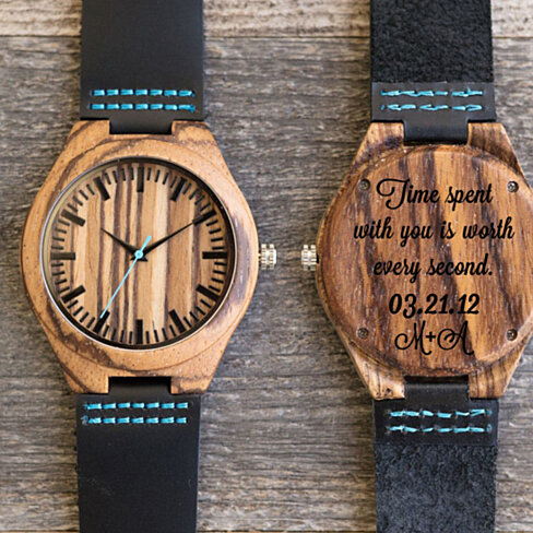 Wood Engraved Watch w70~ Gift for Him, Fathers Day Gift, Christmas, Personalized Watch, Anniversary, Wedding, Groomsmen Gift