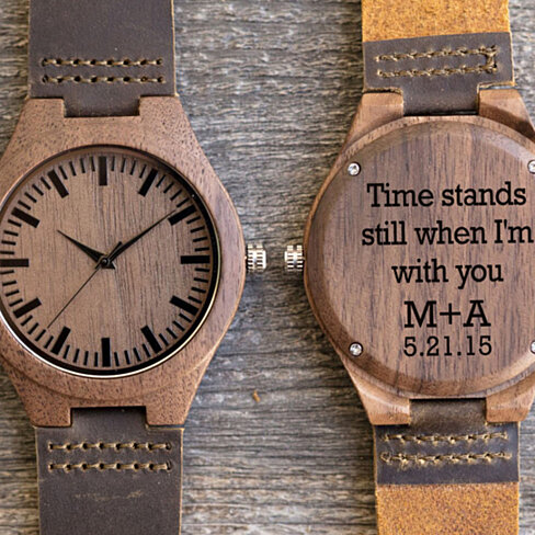 Wood Engraved Watch w85~ Gift for Him, Fathers Day Gift, Christmas, Personalized Watch, Anniversary, Wedding, Groomsmen Gift