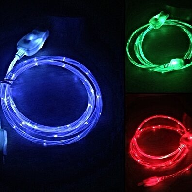 "Micro USB ""Visible Current Flow"" Light Up Charger Cable"