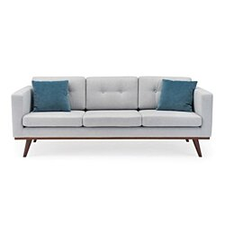 James Mid-Century Modern Fabric Tufted Sofa
