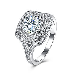14K White Gold Plated Ice Out Princess Cut Swarovski Halo Statement Ring