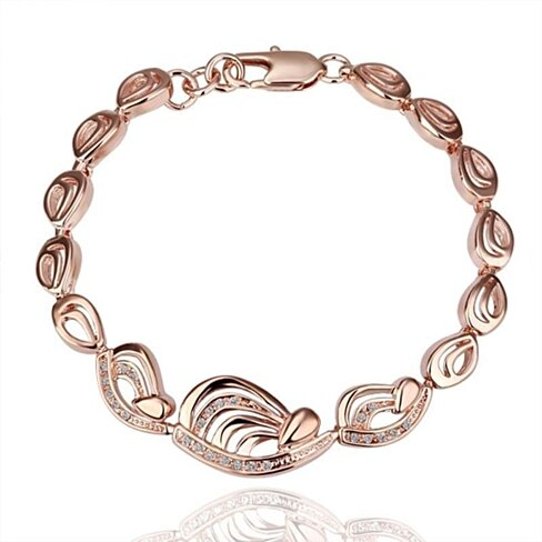 18K Gold Abstract Interconnected Bracelet with Swarovski Elements