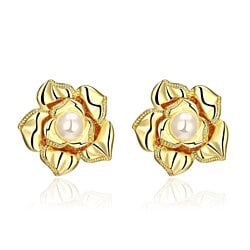 18K Gold Blossoming Petal Stud Earrings Made with Swarovksi Elements