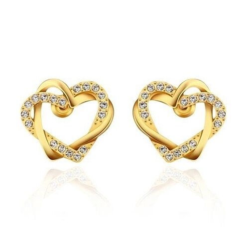 18K Gold Crystal Covered Hollow Hearts Stud Earrings Made with Swarovksi Elements