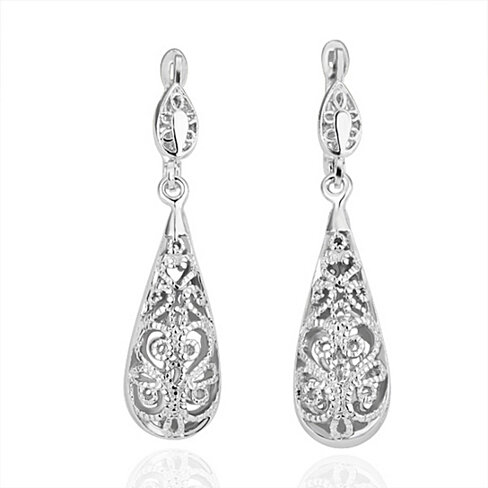 18K Gold Filigree Drops Earrings - 3 Finishes