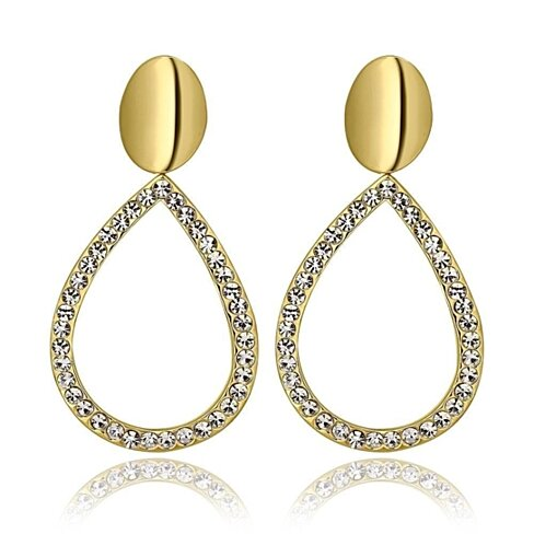 18K Gold Hollow Classic Drop Down Earrings Made with Swarovksi Elements