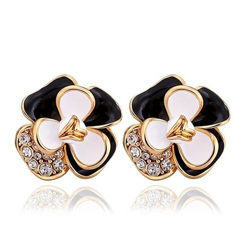18K Gold Ivory Covered Floral Petal Stud Earrings Made with Swarovksi Elements