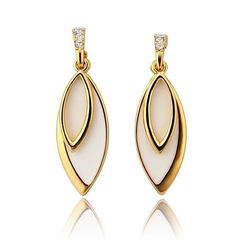 18K Gold Ivory Covering Drop Down Earrings Made with Swarovksi Elements