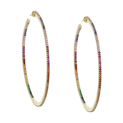 863e31a18 18K Gold Plated Rainbow Swarovski Elements Thin Hoops (Multiple Options)