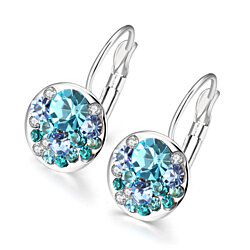 18K Italian WhiteGold Plated Periwinkle Multi Blue Drop Earrings with Swarovski Elements by Rubique Jewelry