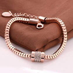 18K Rose Gold Cube Chained Bracelet with Swarovski Elements